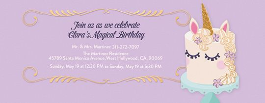 Unicorn Cake Invitation Unicorn Party Invites Unicorn Birthday