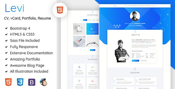 Levi Is An Awesome Personal Vcard Cv Resume Amp Portfolio