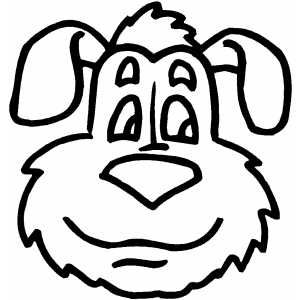 Smiling Dog Head Coloring Page Desenhos