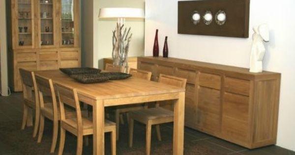Salle a manger avec meubles en bois ensemble vaisselier for Meuble salle À manger avec chaise salon