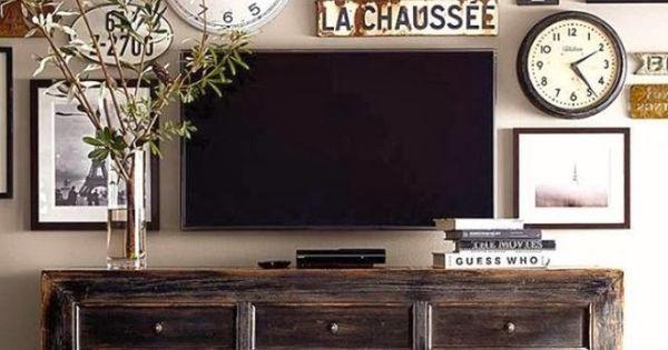 10 ideas para colgar cuadros alrededor de la tv - Altura para colgar tv ...