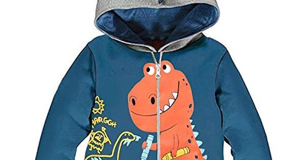 Garsumiss Giacca Ragazzini Fumetto Dinosauro Bambini Incappucciato Cappotto Cappuccio Felpa Hoodie Vestiti dei Bambini per 1-7 Anni