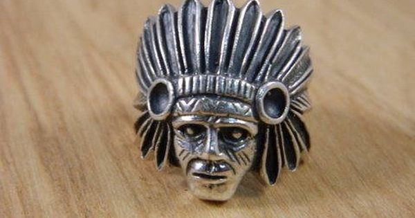 Native American Chief Head Ring Vintage Mens Indian Sterling Silver Ring Indian Head S Vintage Sterling Silver Rings Vintage Mens Fashion Southwestern Ring