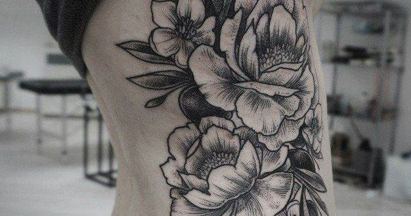 pfingstrose tattoo schwarz google suche tattoo pinterest pfingstrosen tattoo tattoo. Black Bedroom Furniture Sets. Home Design Ideas