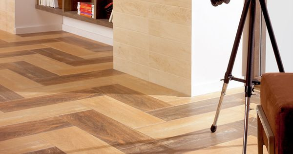 Wood Ceramic Tile In Zig Zag Pattern Features Floors