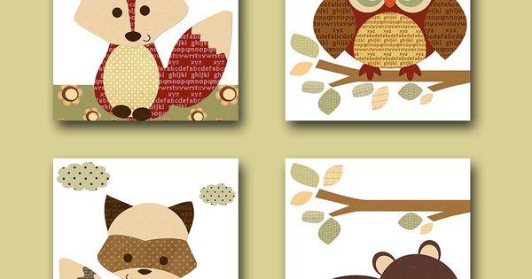 Lot de 4 illustration pour enfant et bebe gar on - Illustration chambre bebe ...