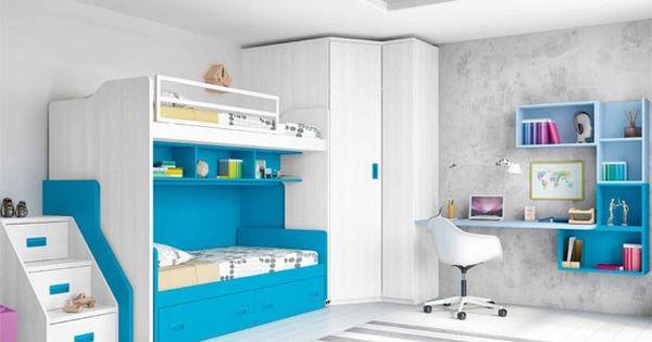 Dormitorio infantil con literas y armario rinc n - Dormitorios infantiles literas ...