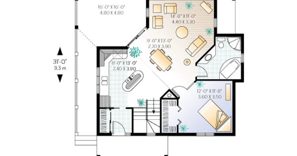 Cottage 1 beds 1 baths 840 sq ft plan 23 161 main floor for 840 square feet
