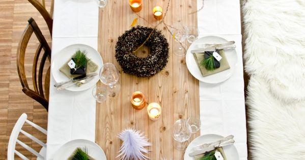 diy tischdeko ideen f r weihnachten mit kupfer und tannenb umen aus papier weihnachten. Black Bedroom Furniture Sets. Home Design Ideas
