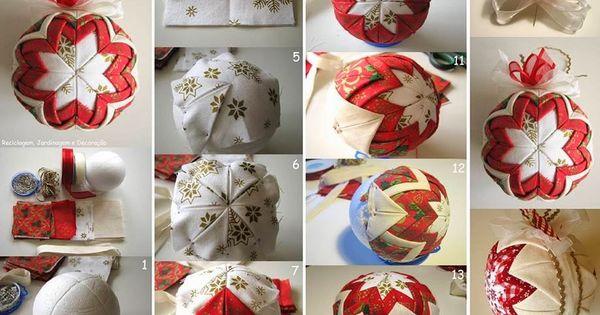 Como hacer esferas navide as de tela paso a paso adornos - Como hacer adornos de navidad paso a paso ...