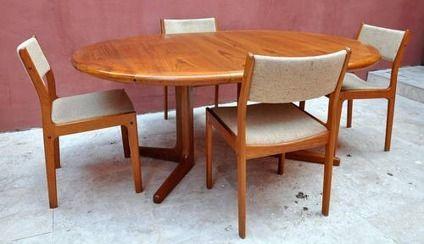 650 Vintage D Scan Danish Modern Teak Dining Set Table