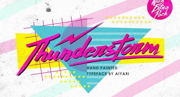 Thunderstorm typeface. A hand-made brush typeface inspired by 80s-90s music, retro, disco, grunge, and pop culture. uses for poster