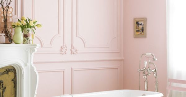 blush pink walls and yellow clawfoot tub. we'll take bathroom interior design