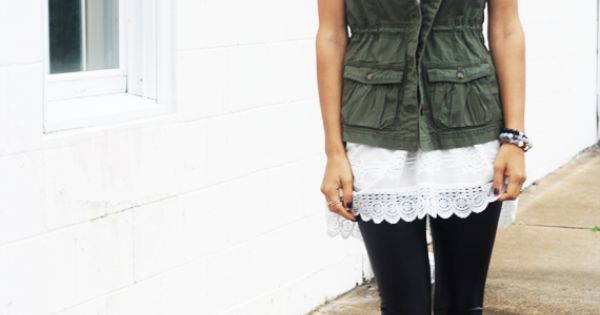 My black leggings with white tank and green denim vest