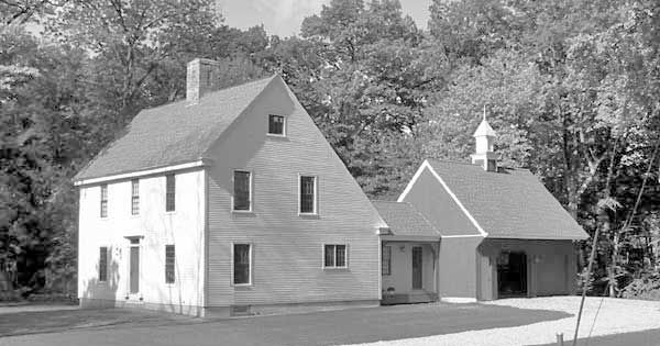 Early saltbox one standard plan breezeway to connect to for Colonial saltbox house plans