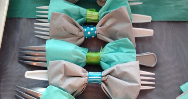 Bow Tie Napkins With Utensils Baby Boy Baby Shower Ideas