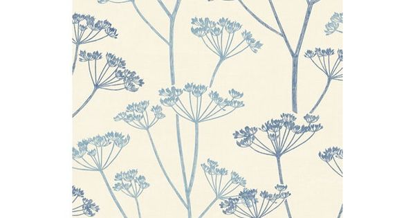 Homebase Wall Art : Stunning blue feature cow parsley wallpaper from homebase