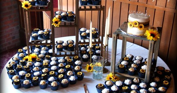 Sunflower And Navy Blue Wedding Cupcake Display Jamie