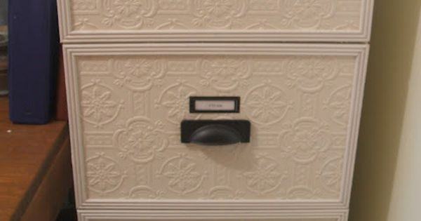 File cabinet makeover with textured wallpaper and new hardware. - Now I