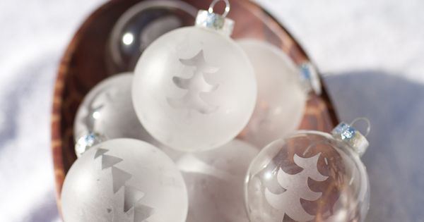 Etched glass ornaments DIY