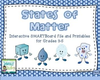 States Of Matter Smartboard File With Printables Matter Science Fun Science Science Lessons