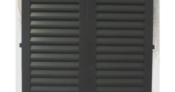 36 In X 23 75 In Black Colonial Louvered Hurricane Shutters Pair This Is What I Want Outside Hurricane Shutters Shutters Tall Cabinet Storage