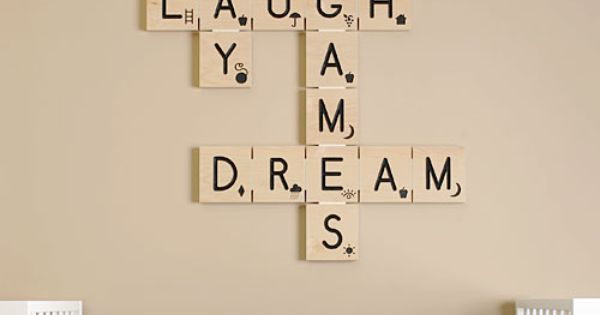 Scrabble letter wall art - would be great for a play room,