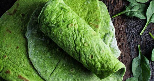 Homemade Spinach Wraps 3 c. flour 1 1/2 tsp baking powder 1
