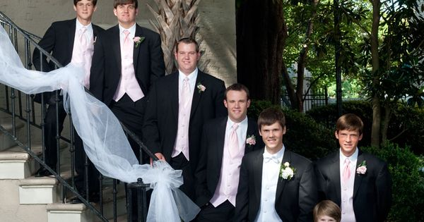 Sweet Southern Wedding At Marion Hatcher Center In Augusta: Pink Wedding. Bridal Party Outside Reception Venue, The