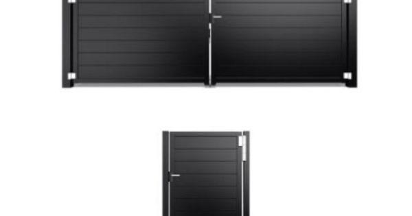 Dichte design poort met houtlook planken van aluminium modern hekwerk poorten masterhekwerk - Planken modern design ...