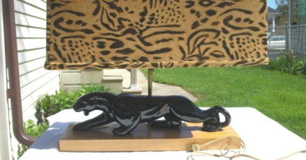 Unique Vintage 1950 S Mid Century Black Panther Lamp With Original Panther Shade Century Black Unique Vintage Lamp Planters