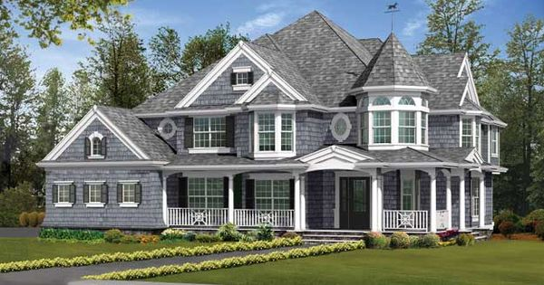 Large 4 bedroom victorian style home with front and rear covered porches victorian house plan - Large victorian house plans ...