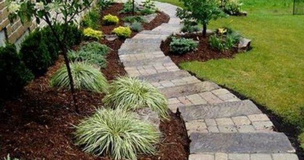 Side yard landscaping - Love this paver walkway around the house