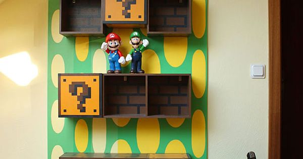 Going in our video game room... *Super Mario Bros. shelves decor