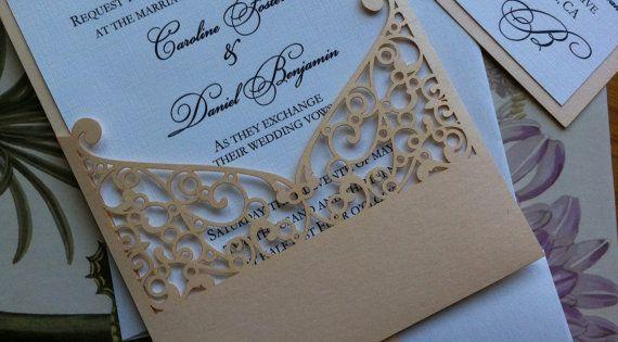 Wilton Wedding Invitations Template: Lasercut Wedding Invitation Sleeve Pocket