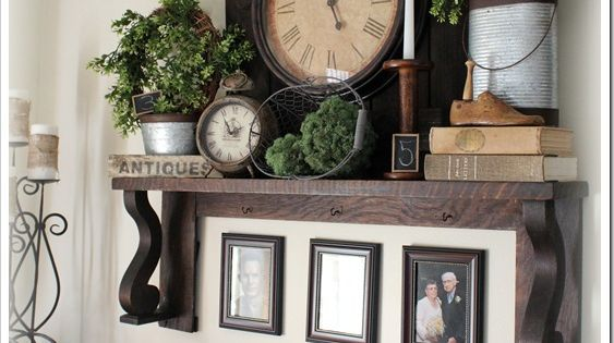 Rustic mantel shelf ... Possible mantel idea. Esp. the clock