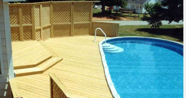 Nice deck around above ground pool looks like ours Above ground pool privacy
