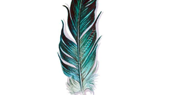 Aquamarine Feather Painting Original Watercolor por jodyvanB, $40.00