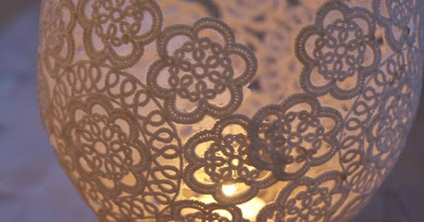 hang a blown up balloon from a string. dip lace doilies in