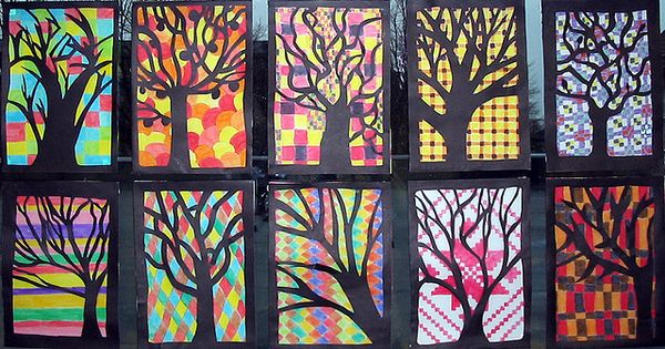 silhouette trees patterns art lesson project autumn elementary fall @Style Space Stuff
