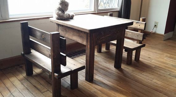 Childrens rustic primitive table bench set kitchen farm for Furniture of america hilande rustic farmhouse dark walnut bed