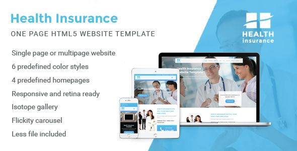 Health Insurance One Page Website Template Website Template