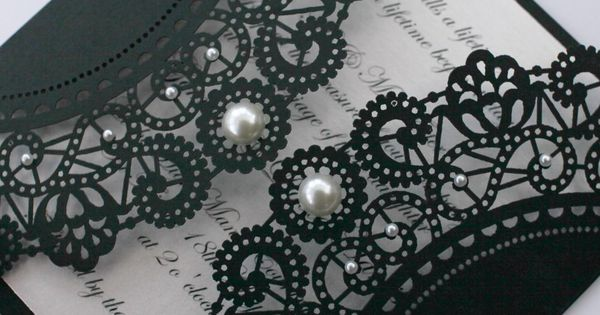 Black lace wedding invitation with pearl details... Envelope ideas!