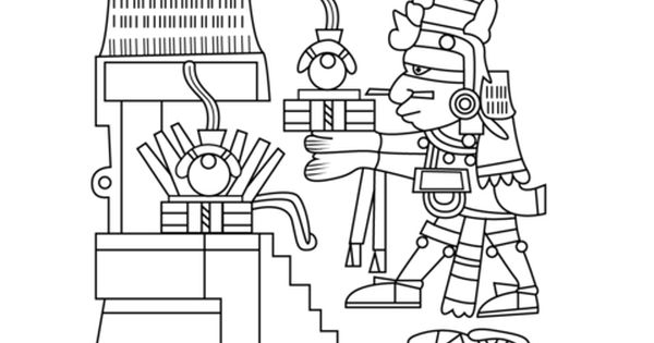 Xiuhtecuhtli The Aztec God Of Fire Day And Heat Coloring Page Free Printable Coloring Pa Coloring Pages Free Printable Coloring Pages Free Printable Coloring
