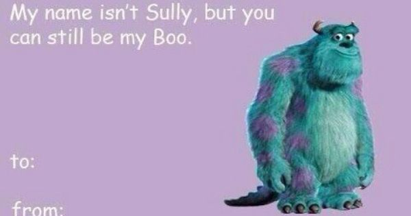 Monsters Inc Valentines day card – Valentine Cards for Lovers