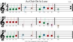 Color Coded Free Violin Sheet Music For Au Clair De La Lune