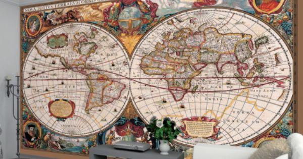 Mapa del mundo estilo antiguo mural de papel pintado for Papel tapiz estilo mural