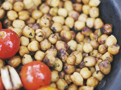 Balsamic Chickpeas. Add a little fresh summer basil = so yum. Can't