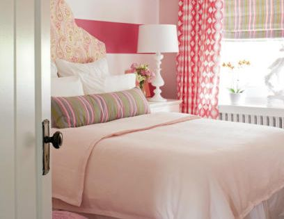 Cute Young Girls Room - bright colors and stripe wall