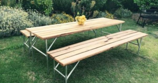 Recycled Timber Outdoor Setting Table And Bench Seats Dining